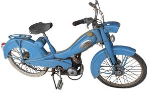Mobylette bleue, vintage, à vendre à Cogolin